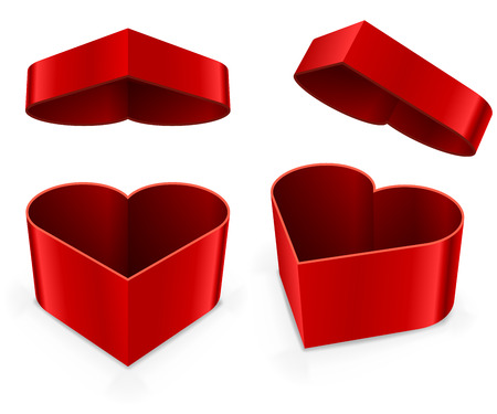 christmas gift: Red heart shaped present box vector template.