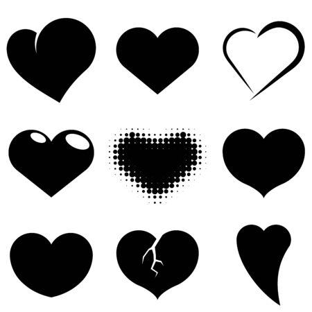 white heart: Black and white heart shapes vector set.