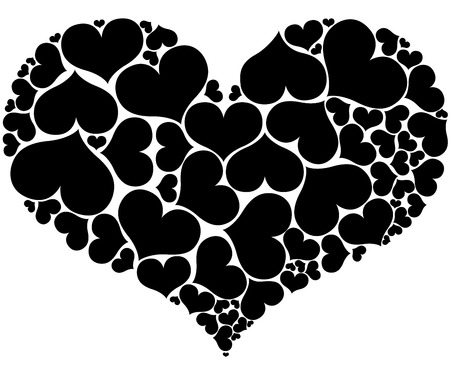forming: Heart shapes forming big heart isolated on white background.
