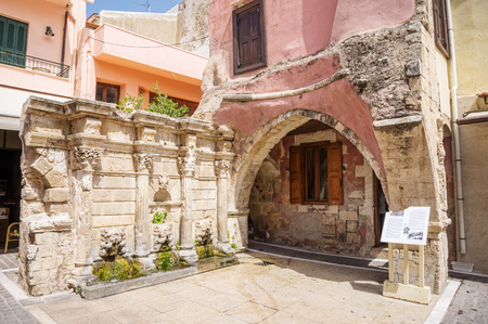 architectural heritage: Rethymno old town Rimondi Fountain that dates back to 17th century, Crete, Grece.