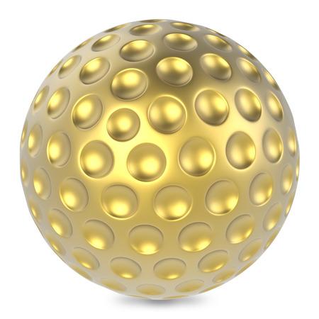 golfball: Golden golf ball isolated on white background.