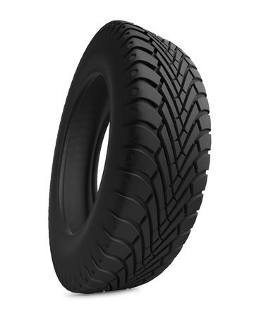 Single automobile tire isolated on white background. Stock Photo