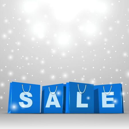 show window: Christmas sale blue paper shopping bags vector template.
