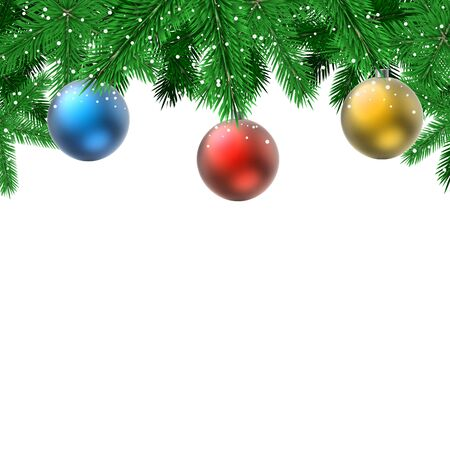 red christmas background: Fir branches with hanging decoration balls Christmas card with white copy space.