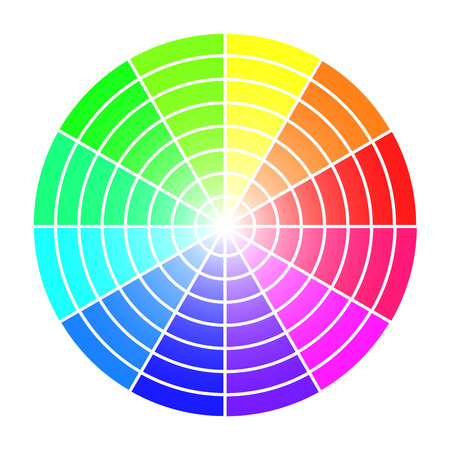 nuance: Color wheel vector template isolated on white background.