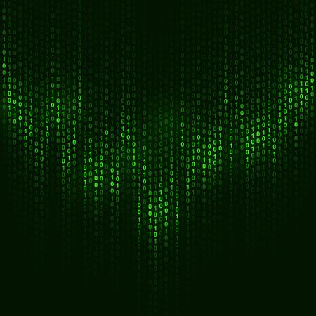 Codice binario sfondo scuro vettore verde con copia spazio.
