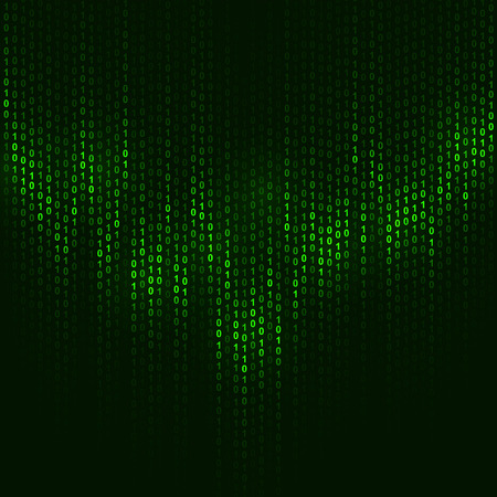 Binary code dark green vector background with copy space.