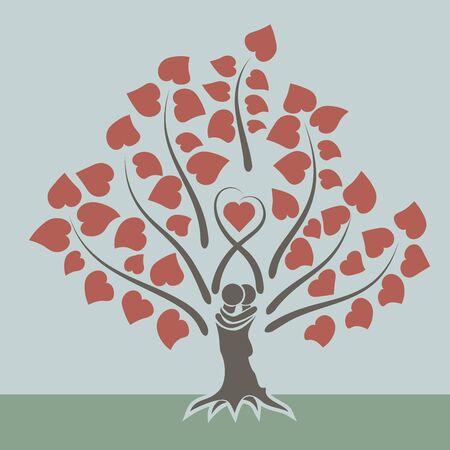 arbol de la vida: Concepto del amor del árbol tarjeta de diseño plano.