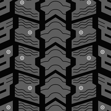 skidding: Automobile winter studded tire seamless vector pattern. Illustration