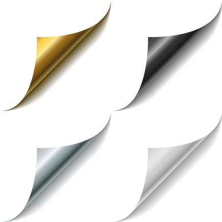 metal black: Gold, metal, black and white page corner curls vector template. Illustration