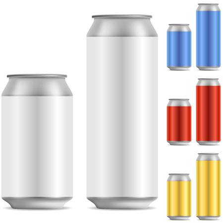 aluminum can: Blank beer of soft drink aluminum can vector template with color variants. Illustration