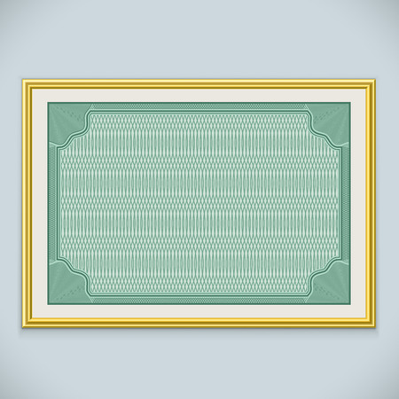 gold frame: Horizontal wall certificate frame vector template with copy space. Illustration
