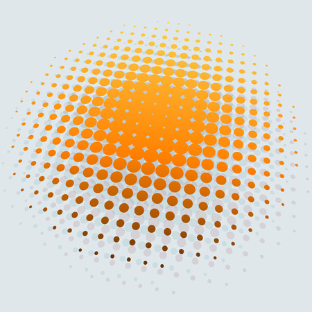 halftone background: 3D yellow sun halftone vector background.