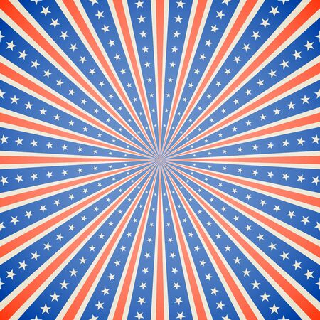 july 4: July 4, Independence Day white, red and blue burst vector background. Illustration