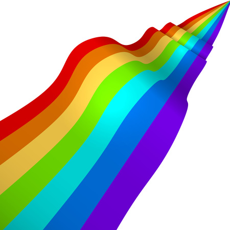 3d rainbow: Colorful 3D rainbow ribbon vector background with white copy space.