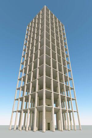 Betonrahmen Gebäude 3D-Konstruktion Hintergrund machen.