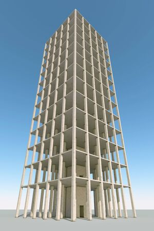 high rise: Building concrete frame 3D render construction background.