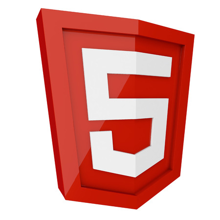 html 5: HTML 5 3D red sign isolated on white background.