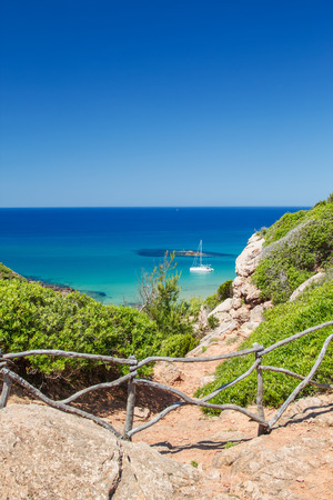 cami: View on Mediterranean sea from Cami de Cavalls path at Menorca, Spain. Stock Photo