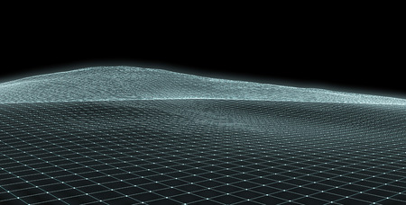 cyber: Abstract glowing mesh surface on black background.