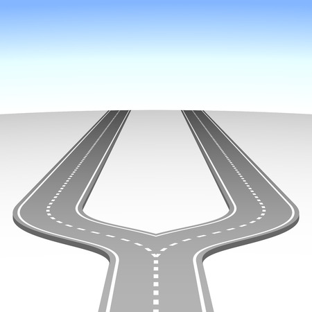 thoroughfare: Abstract simple road fork vector background.