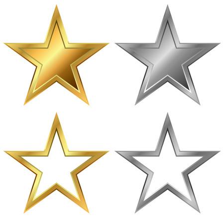 lucero: Oro y plata estrellas plantilla de vector aislado en el fondo blanco.