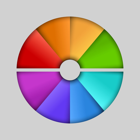 Abstrakt segmentierte Farbhalbkreis Infografik Vektor-Vorlage