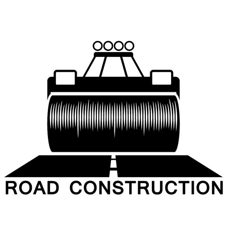 construction machines: Road roller black and white sign isolated on white background.