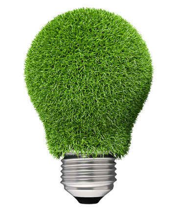green grass: Light bulb covered with green grass isolated on white background. Green energy concept image. Stock Photo