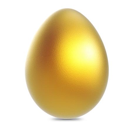 Single golden egg isolated on white background.