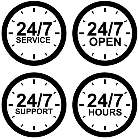 shop opening hours: Around-the-clock operating hours black and white sign isolated on white background.