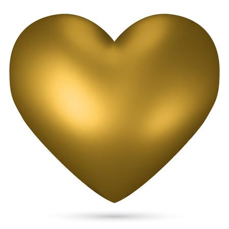 golden heart: Golden heart shape isolated on white background.