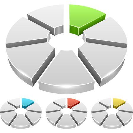 segmento: gr�fico de la rueda de color blanco con segmentos iconos vectoriales 3D aisladas sobre fondo blanco.