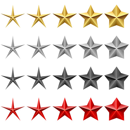 gold silver: Star icons vector set isolated on white background. Illustration