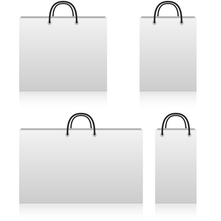 size: White paper shop bags of different sizes with copy space isolated on white background.