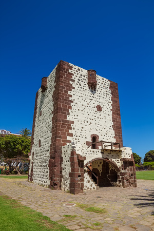 canaries: Tower Torre Del Conde (The Counts Tower) In San Sebastian at La Gomera Island, Canary islands, Spain. The oldest military fort in the Canaries built in 1450 and Christopher Columbus last port of call. Editorial