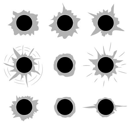 holes: Bullet holes set flat vector template.