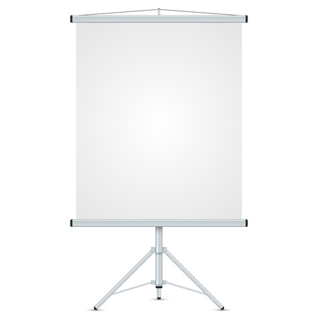 flipchart: Office blank whiteboard vector template isolated on white background.