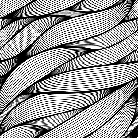 Seamless black and white wavy line leaves vector pattern.