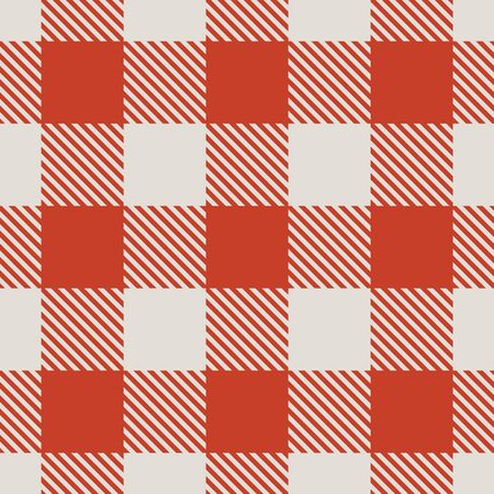 chequered drapery: Seamless red and white tablecloth vector pattern. Illustration