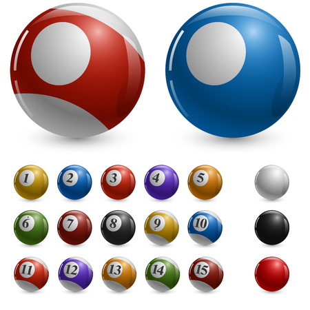 color balls: Blank color pool balls vector template with samples.
