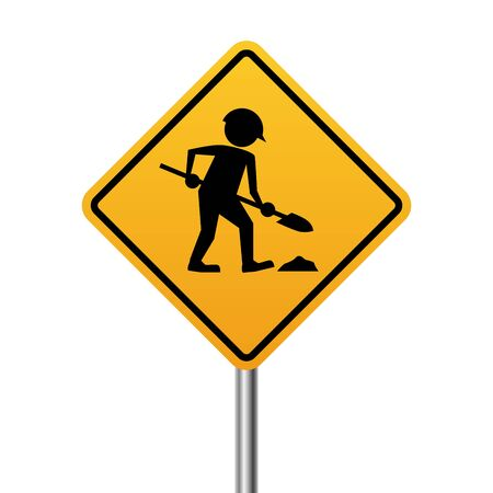 Works in progress yellow sign isolated on white background.