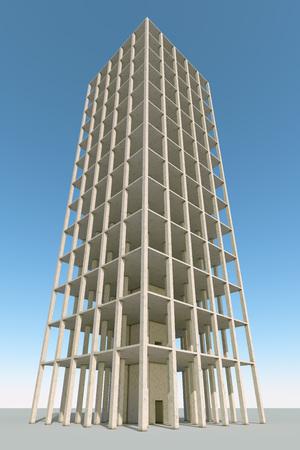 concrete background: Building concrete frame 3D render construction background.