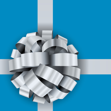 Present box silver bow vector template. Illustration