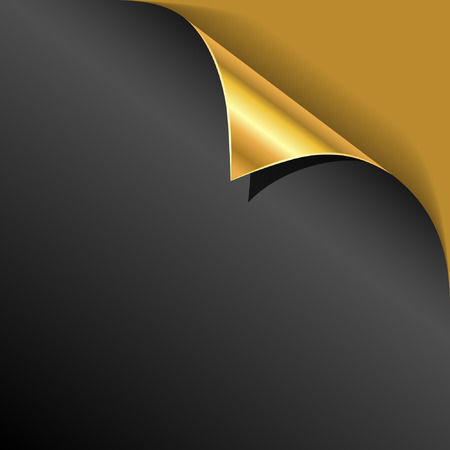 bent over: Black cover page gold corner curl vector template.