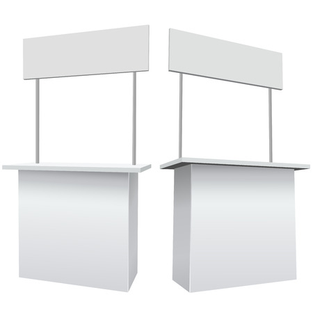samples: Blank white promotion exhibition counter isolated on the white background. Illustration