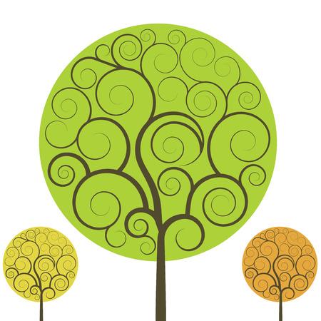 tree isolated: Swirly tree vector shape isolated on white background.