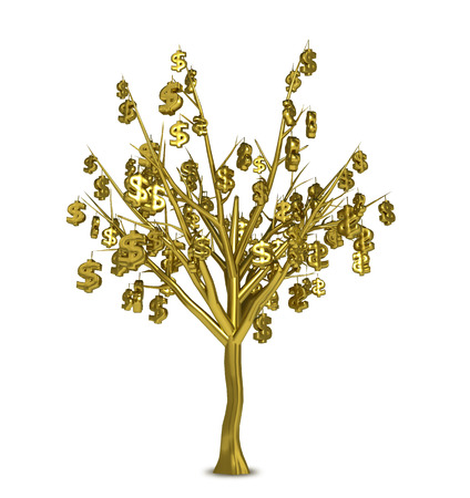 Golden tree with golden signs instead of leaves isolated on white background.