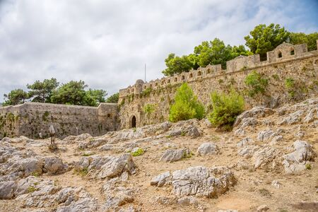 kreta: Ancient Fortezza of Rethymno wall at Crete, Greece.