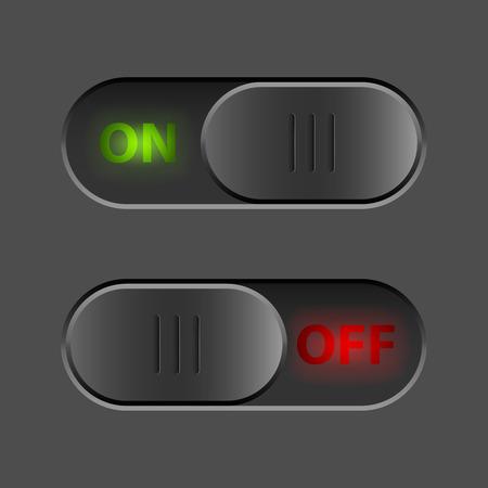 Zwart aan-uitschakelaar UI-knop vector template. Stock Illustratie